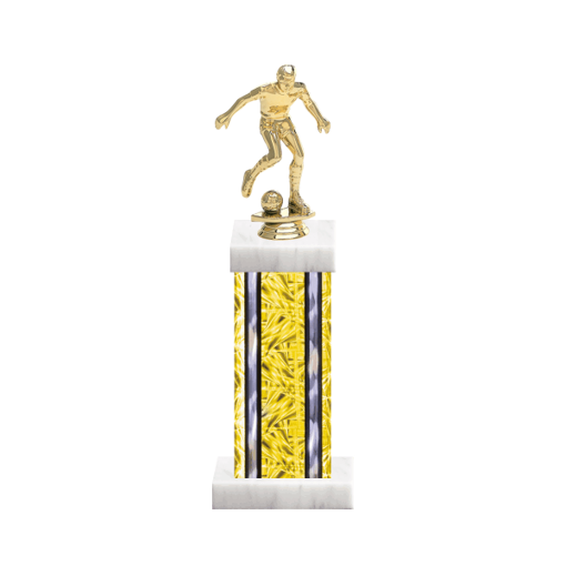 """13"""" Soccer Trophy with Soccer Figurine, 6"""" colored column and marble base."""