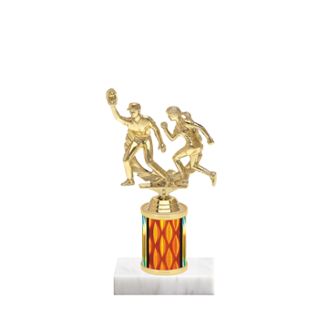 "7"" Softball Trophy with Softball Figurine, 2"" colored column and marble base."