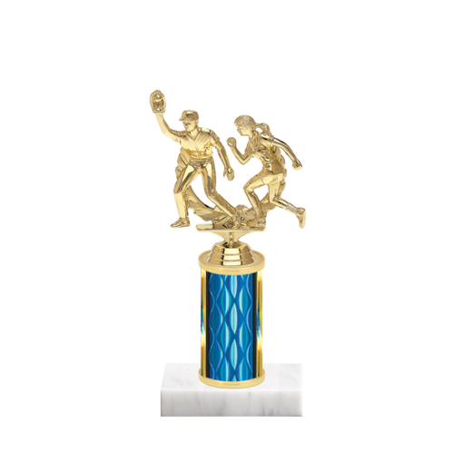 "8"" Softball Trophy with Softball Figurine, 3"" colored column and marble base."
