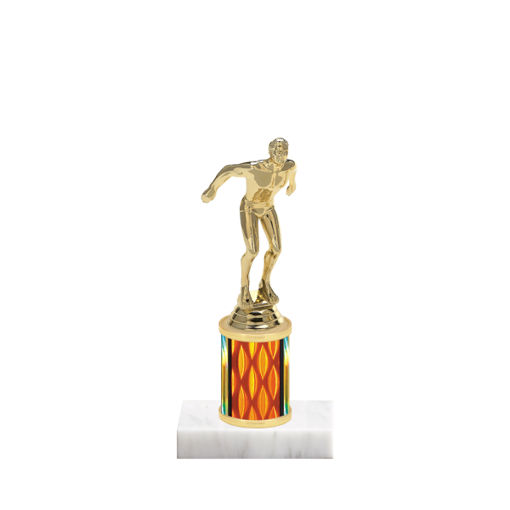 "7"" Swimming Trophy with Swimming Figurine, 2"" colored column and marble base."
