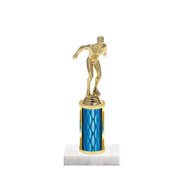 "8"" Swimming Trophy with Swimming Figurine, 3"" colored column and marble base."