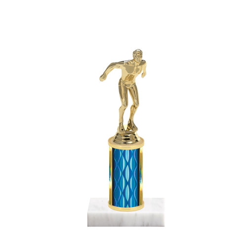 """8"""" Swimming Trophy with Swimming Figurine, 3"""" colored column and marble base."""
