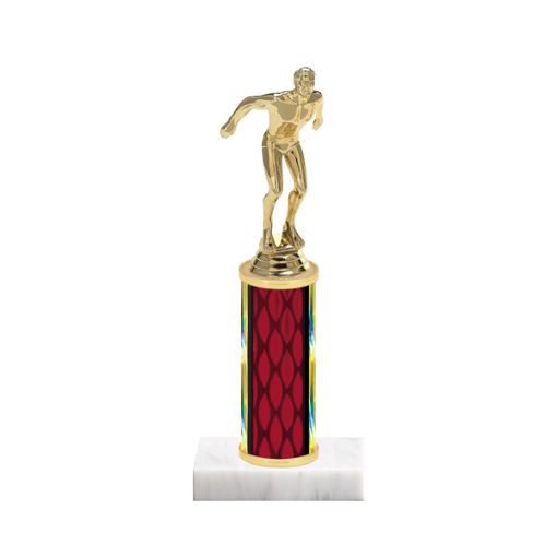 """9"""" Swimming Trophy with Swimming Figurine, 4"""" colored column and marble base."""