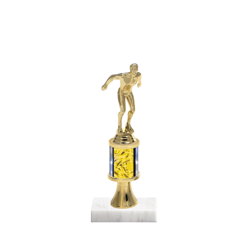 "10"" Swimming Trophy with Swimming Figurine, 2"" colored column, gold riser and marble base."