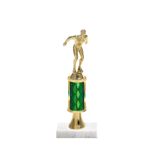 "11"" Swimming Trophy with Swimming Figurine, 3"" colored column, gold riser and marble base."