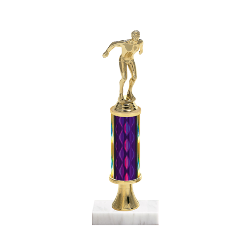 "12"" Swimming Trophy with Swimming Figurine, 4"" colored column, gold riser and marble base."