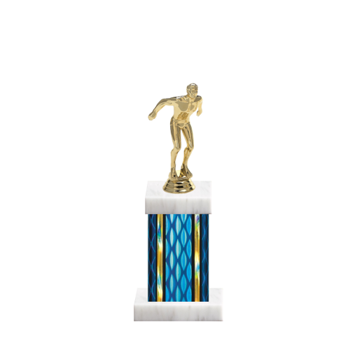 """11"""" Swimming Trophy with Swimming Figurine, 4"""" colored column and marble base."""