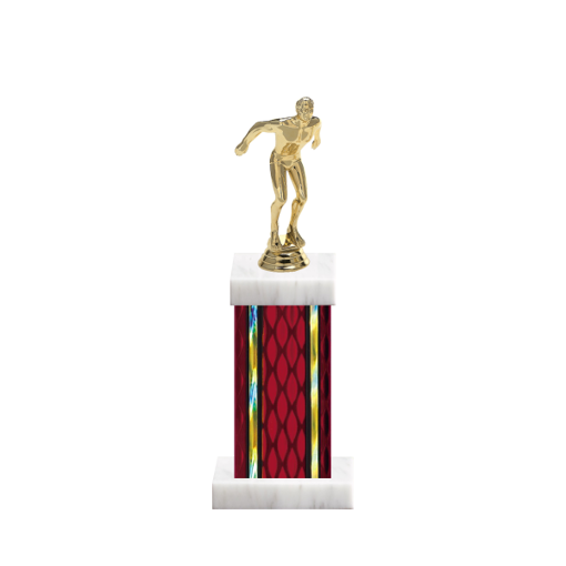 """12"""" Swimming Trophy with Swimming Figurine, 5"""" colored column and marble base."""
