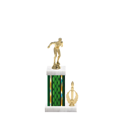 """13"""" Swimming Trophy with Swimming Figurine, 5"""" colored column, side trim and marble base."""