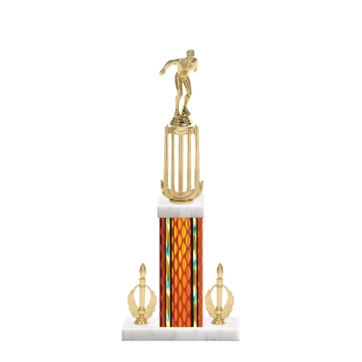 """18"""" Swimming Trophy with Swimming Figurine, 7"""" colored column, double side trim and marble base."""