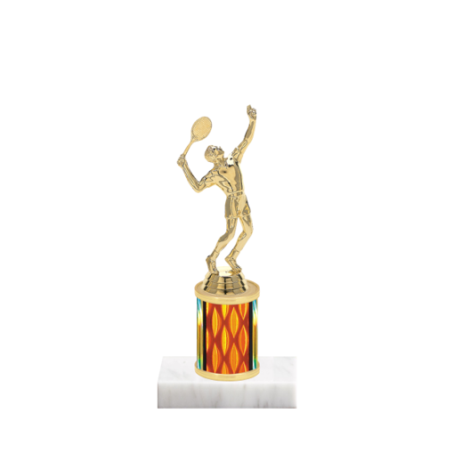 "7"" Tennis Trophy with Tennis Figurine, 2"" colored column and marble base."