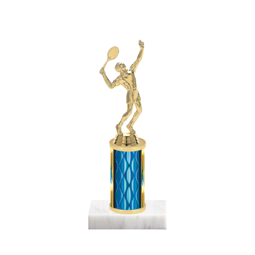 "8"" Tennis Trophy with Tennis Figurine, 3"" colored column and marble base."