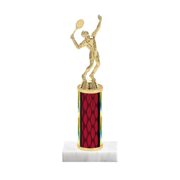 "9"" Tennis Trophy with Tennis Figurine, 4"" colored column and marble base."