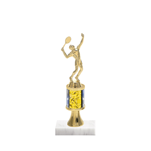 "10"" Tennis Trophy with Tennis Figurine, 2"" colored column, gold riser and marble base."