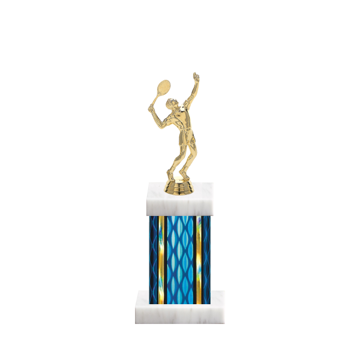"11"" Tennis Trophy with Tennis Figurine, 4"" colored column and marble base."