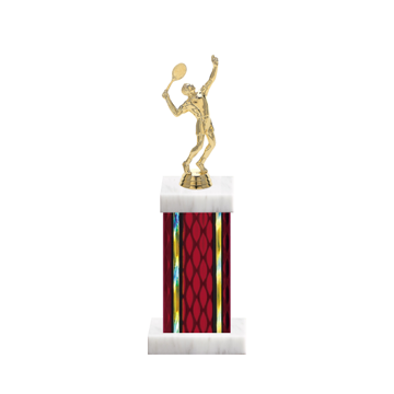 "12"" Tennis Trophy with Tennis Figurine, 5"" colored column and marble base."