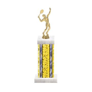 "13"" Tennis Trophy with Tennis Figurine, 6"" colored column and marble base."