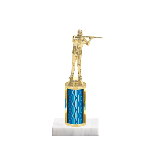 """8"""" Trap & Skeet Trophy with Trap & Skeet Figurine, 3"""" colored column and marble base."""