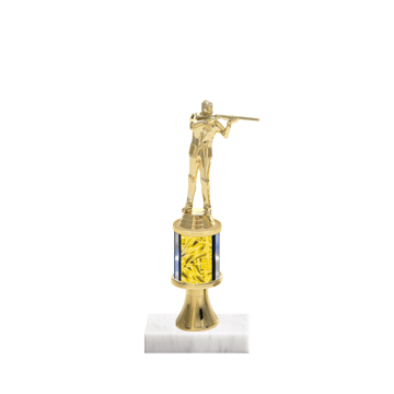 "10"" Trap & Skeet Trophy with Trap & Skeet Figurine, 2"" colored column, gold riser and marble base."