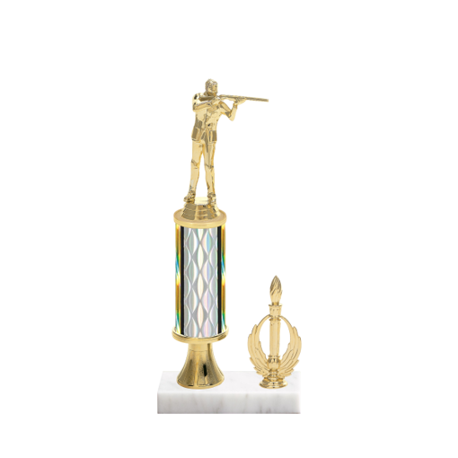 "12"" Trap & Skeet Trophy with Trap & Skeet Figurine, 4"" colored column, gold riser, side trim and marble base."