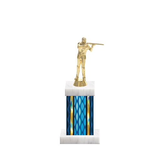 """11"""" Trap & Skeet Trophy with Trap & Skeet Figurine, 4"""" colored column and marble base."""