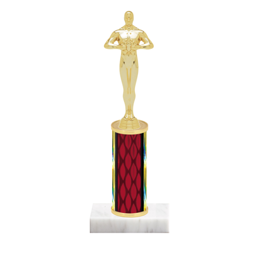 """9"""" Victory Trophy with Victory Figurine, 4"""" colored column and marble base."""