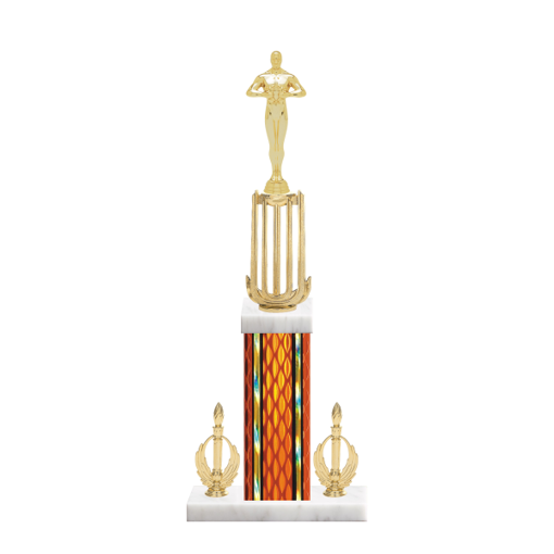 """18"""" Victory Trophy with Victory Figurine, 7"""" colored column, double side trim and marble base."""