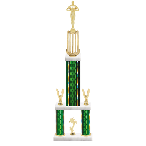 "26"" Multi-Tier Victory Trophy with Victory Figurine, 9"" colored top column, 5"" colored bottom columns, cup riser, double side trim and center base trim."