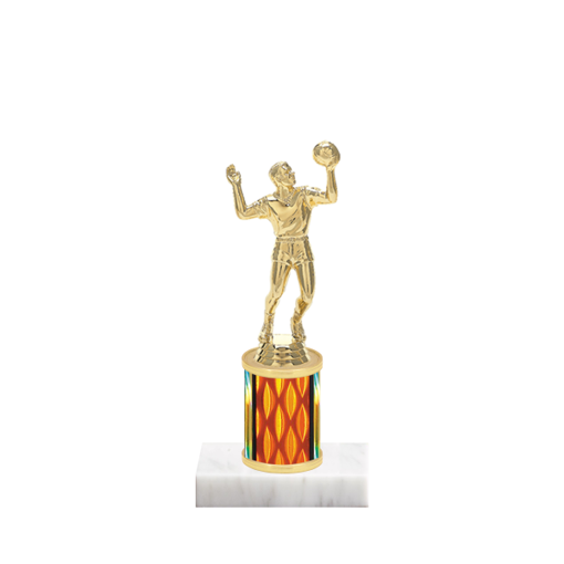 "7"" Volleyball Trophy with Volleyball Figurine, 2"" colored column and marble base."