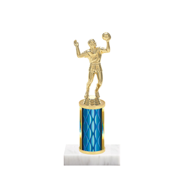"""8"""" Volleyball Trophy with Volleyball Figurine, 3"""" colored column and marble base."""