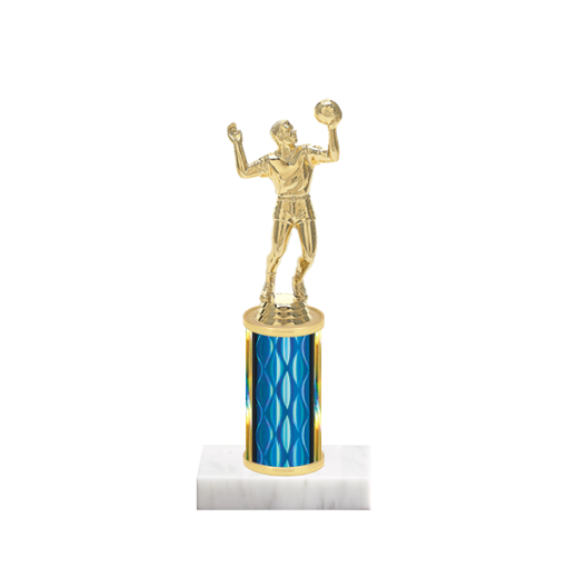 "8"" Volleyball Trophy with Volleyball Figurine, 3"" colored column and marble base."