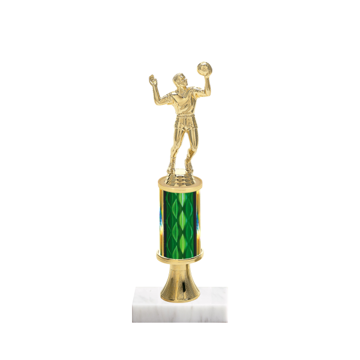 "11"" Volleyball Trophy with Volleyball Figurine, 3"" colored column, gold riser and marble base."