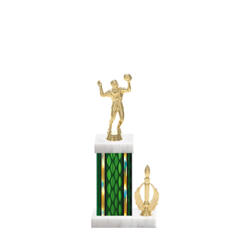 """13"""" Volleyball Trophy with Volleyball Figurine, 5"""" colored column, side trim and marble base."""