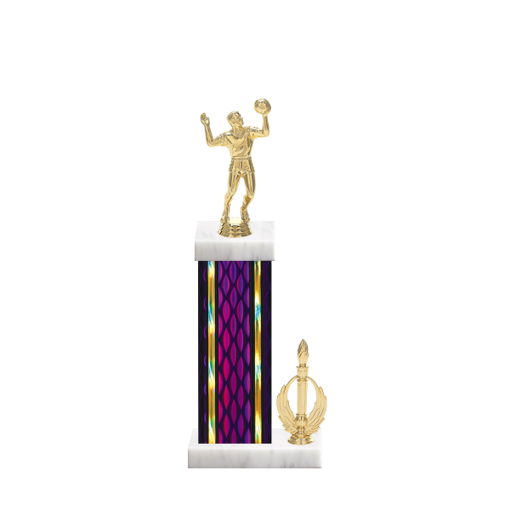 "14"" Volleyball Trophy with Volleyball Figurine, 6"" colored column, side trim and marble base."