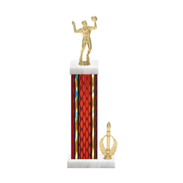 "15"" Volleyball Trophy with Volleyball Figurine, 7"" colored column, side trim and marble base."