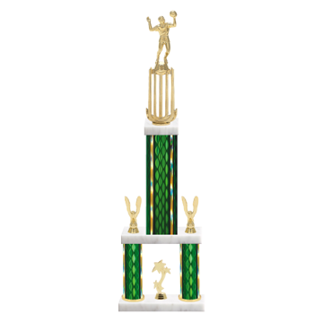 "26"" Multi-Tier Volleyball Trophy with Volleyball Figurine, 9"" colored top column, 5"" colored bottom columns, cup riser, double side trim and center base trim."