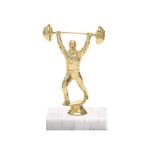 "5"" Weightlifting Figure on Marble Base Trophy"