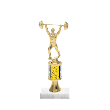 "10"" Weightlifting Trophy with Weightlifting Figurine, 2"" colored column, gold riser and marble base."