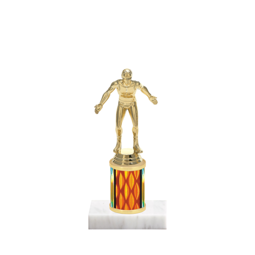 "7"" Wrestling Trophy with Wrestling Figurine, 2"" colored column and marble base."