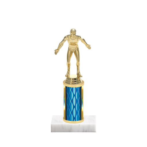 "8"" Wrestling Trophy with Wrestling Figurine, 3"" colored column and marble base."