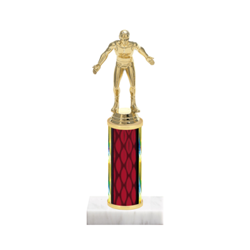 "9"" Wrestling Trophy with Wrestling Figurine, 4"" colored column and marble base."