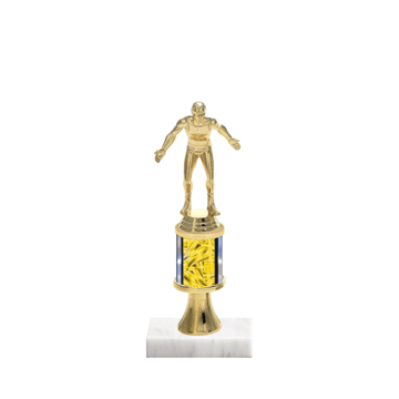 "10"" Wrestling Trophy with Wrestling Figurine, 2"" colored column, gold riser and marble base."