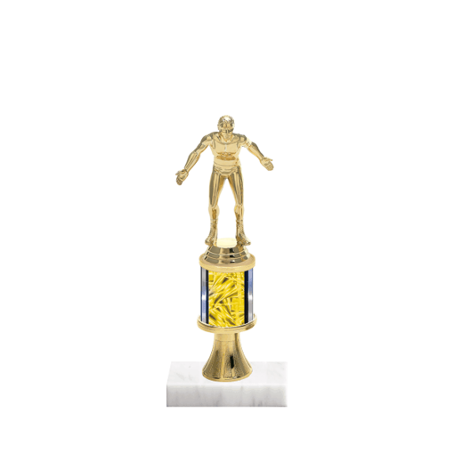 """10"""" Wrestling Trophy with Wrestling Figurine, 2"""" colored column, gold riser and marble base."""