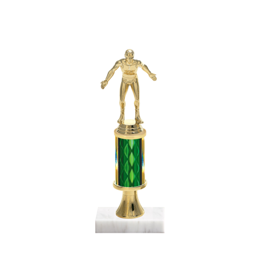 """11"""" Wrestling Trophy with Wrestling Figurine, 3"""" colored column, gold riser and marble base."""