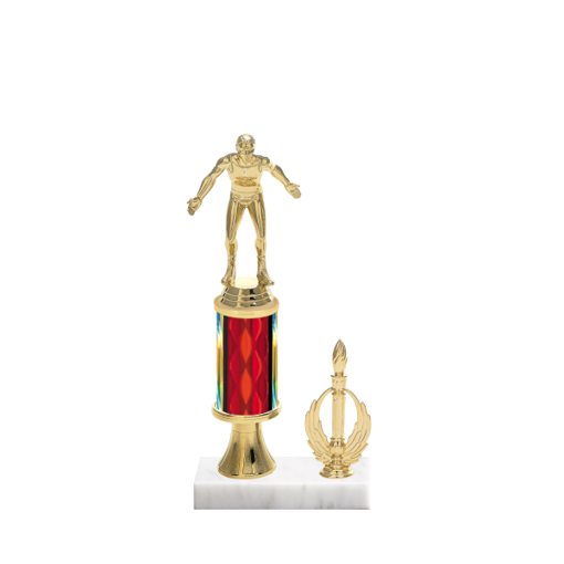 "11"" Wrestling Trophy with Wrestling Figurine, 3"" colored column, gold riser, side trim and marble base."