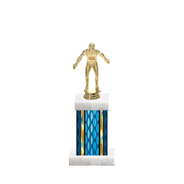 """11"""" Wrestling Trophy with Wrestling Figurine, 4"""" colored column and marble base."""