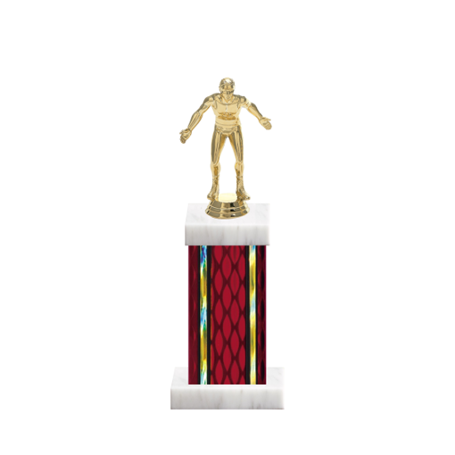 "12"" Wrestling Trophy with Wrestling Figurine, 5"" colored column and marble base."