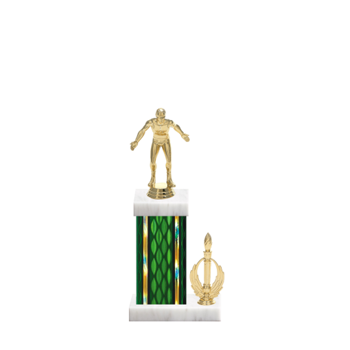 "13"" Wrestling Trophy with Wrestling Figurine, 5"" colored column, side trim and marble base."