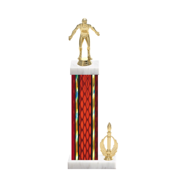 """15"""" Wrestling Trophy with Wrestling Figurine, 7"""" colored column, side trim and marble base."""