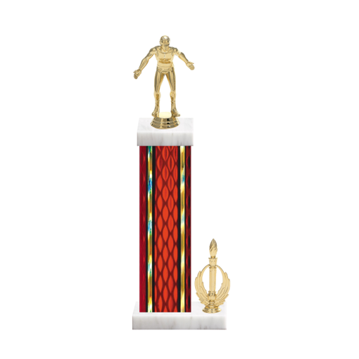 "15"" Wrestling Trophy with Wrestling Figurine, 7"" colored column, side trim and marble base."